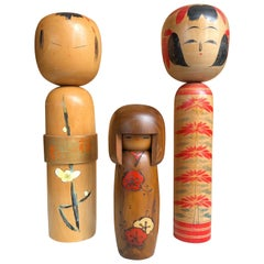 Beautiful Old Japanese Trio Famous Kokeshi Dolls, Hand-Painted, Mint and Signed