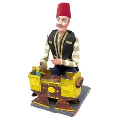 Beautiful Old Oriental Guy Candy Container Secret Chamber Figure, Vintage German