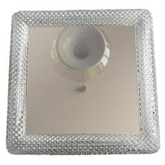 Beautiful Original 1960s Square Illuminated Limburg Crystal Glass Mirror