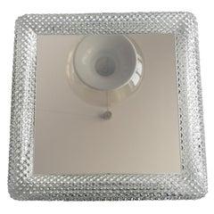 Beautiful Original 1960s Square Illuminated Limburg Crystal Glass Mirror