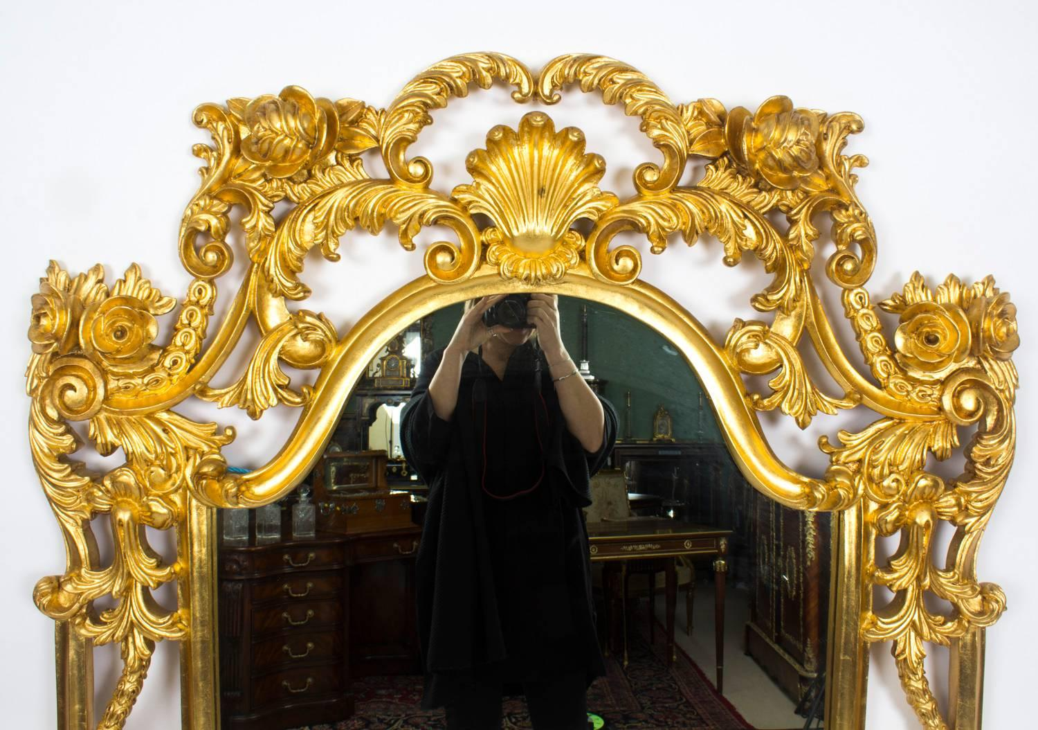 Beautiful Ornate Large Italian Gilded Decorative Mirror For Sale at ...