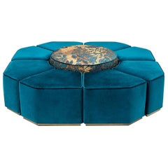 Beautiful Ottoman Composition Made of 1 Central Element and 8 Lateral Elements
