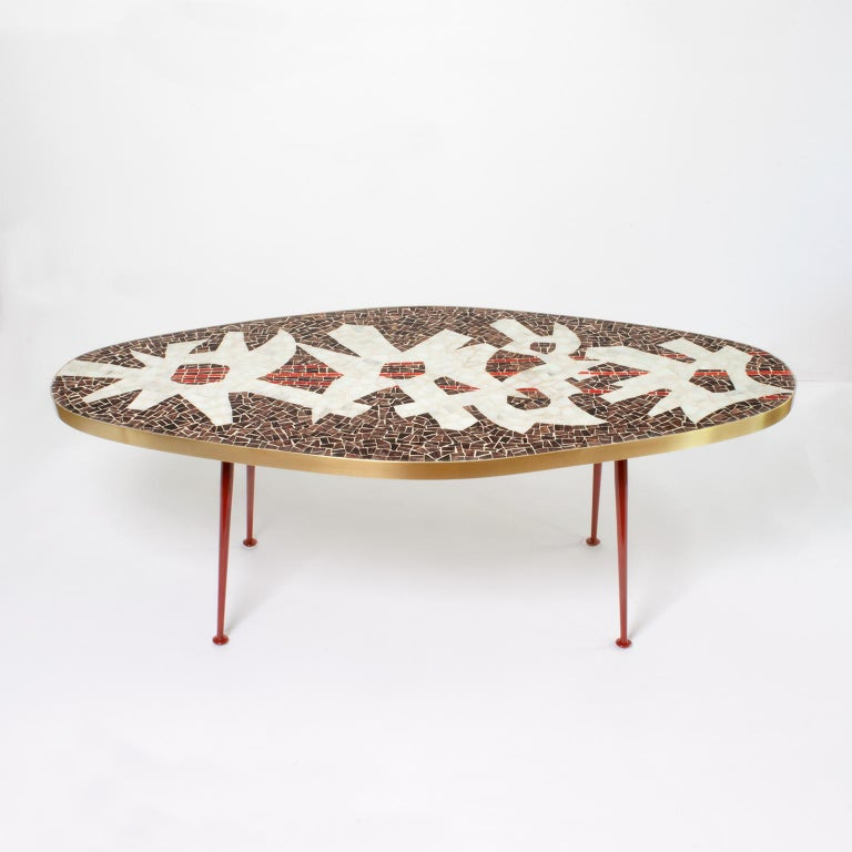 Beautiful Oval Form Midcentury Mosaic Coffee Table