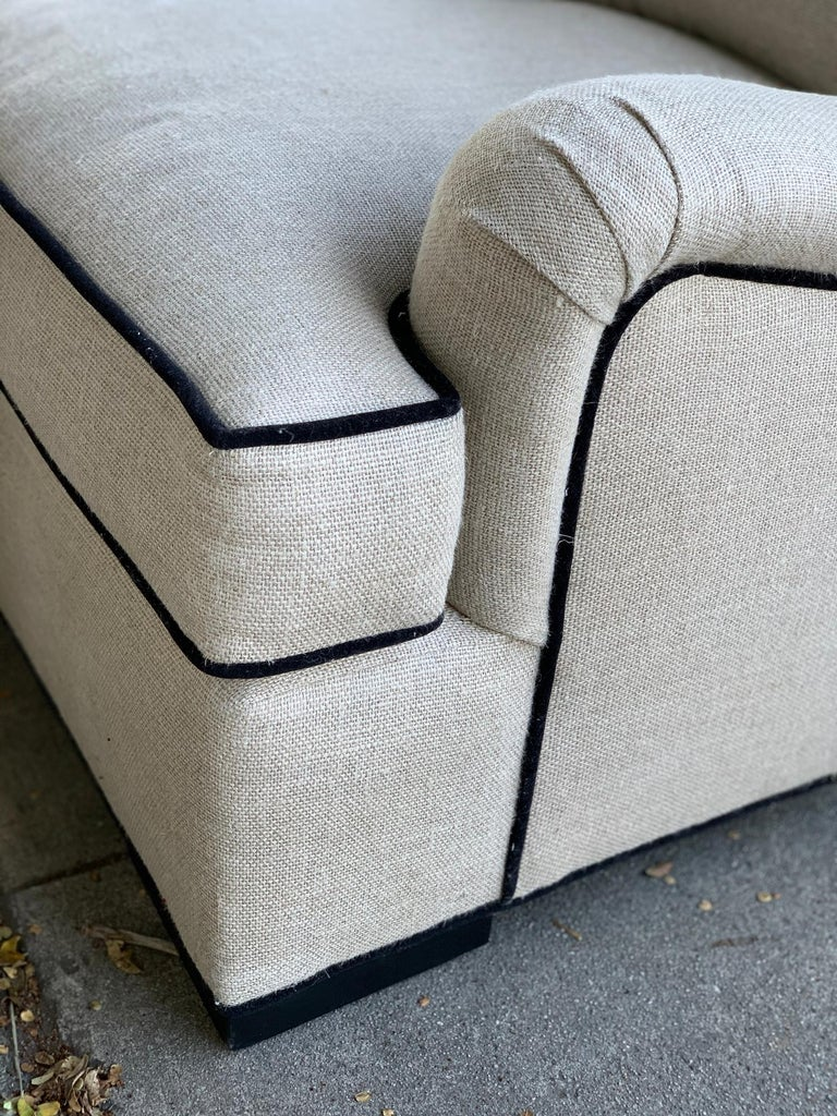 Mid-Century Modern Beautiful Oversize Armchair in Cream Cotton Mix Upholstery For Sale