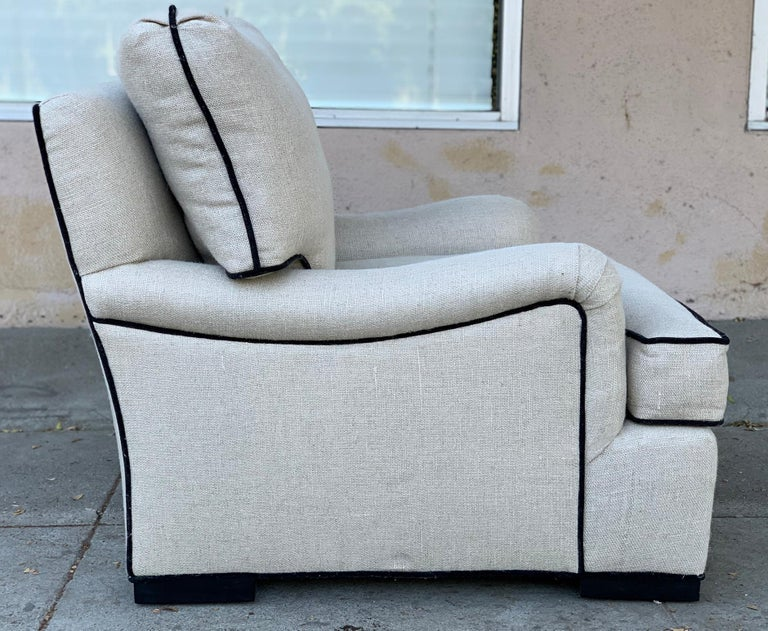 Beautiful Oversize Armchair in Cream Cotton Mix Upholstery For Sale 1