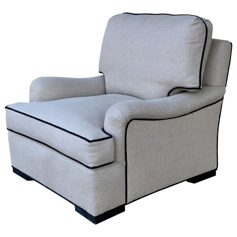 Beautiful Oversize Armchair in Cream Cotton Mix Upholstery For Sale