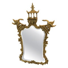Beautiful Pagoda Asian Style Gold Leaf Mirror by Friedman Brothers
