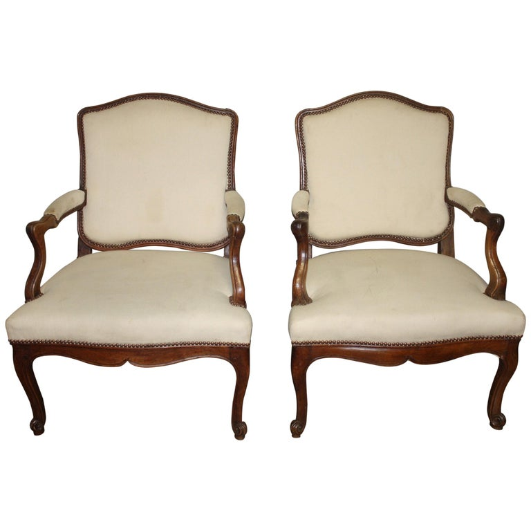 Beautiful Pair of 18th Century French Armchairs For Sale