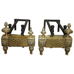 Beautiful Pair of 19th Century French Louis XVI Style Andirons