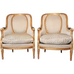 Beautiful Pair of 19th Century Gilt Carved Louis XVI Bergeres