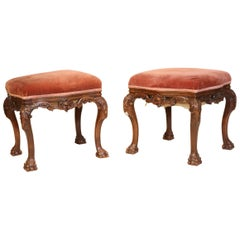 Beautiful Pair of 19th Century Portuguese Mahogany Carved Benches