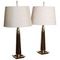 Beautiful  Pair of 70's Enamelled  Lamps