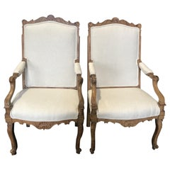 Beautiful Pair of Antique French Louis XV Light Walnut Armchairs