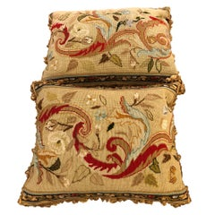 Beautiful Pair of Antique Needlepoint Pillows in Brown, Blue and Cream