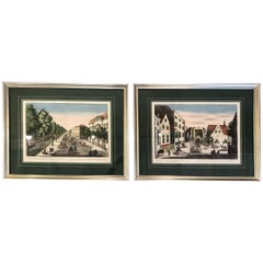 Beautiful Pair of Antique Silver Framed Green Matted Bookplate Etchings