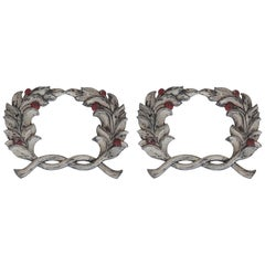 Beautiful Pair of Architectural, Cast Iron Laurel Wreaths 'PAIR'