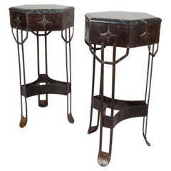 Beautiful Pair of Art Deco Wrought Iron Pedestals with Green/Black Marble Top