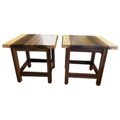 Beautiful Pair of Artisan Made Amish Custom Poplar End Tables