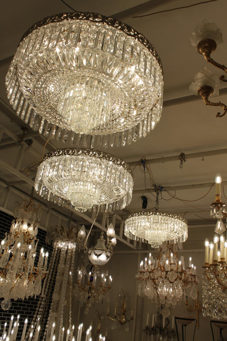 Beautiful Pair of Baccarat Crystal Art Nouveau Silver Chandeliers For Sale 4
