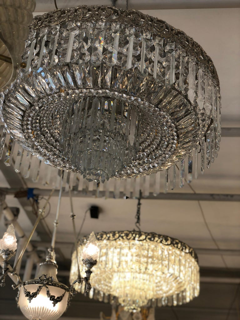 Beautiful Pair of Baccarat Crystal Art Nouveau Silver Chandeliers In Excellent Condition For Sale In London, GB