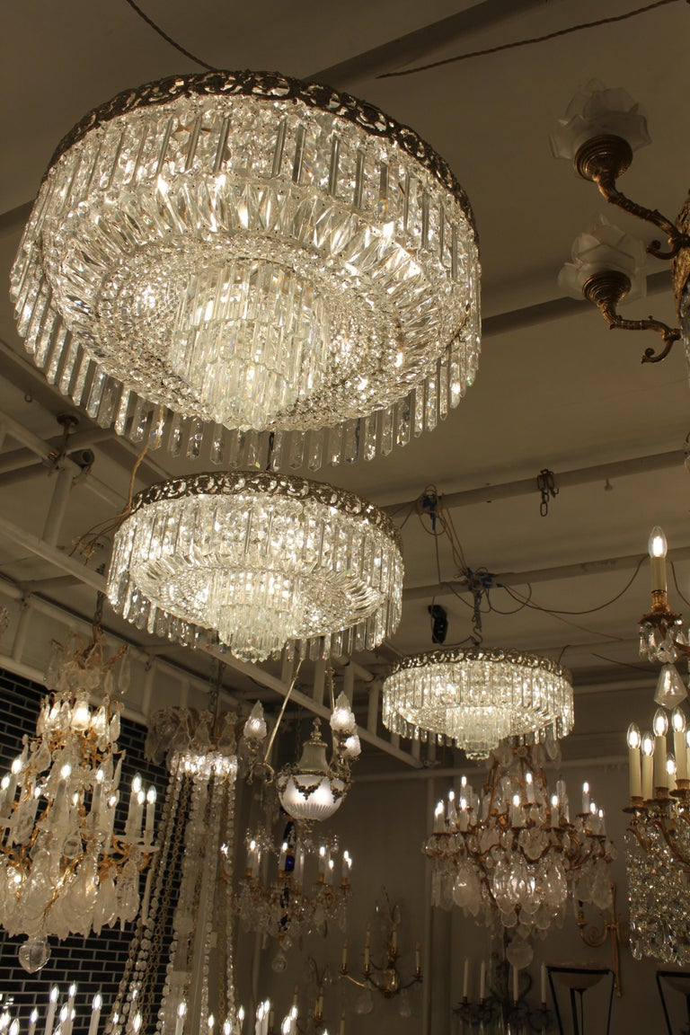 Beautiful Pair of Baccarat Crystal Art Nouveau Silver Chandeliers For Sale 5