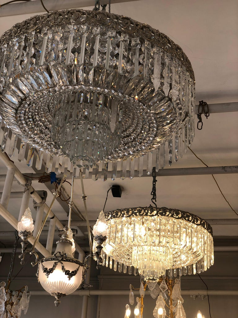 Early 20th Century Beautiful Pair of Baccarat Crystal Art Nouveau Silver Chandeliers For Sale