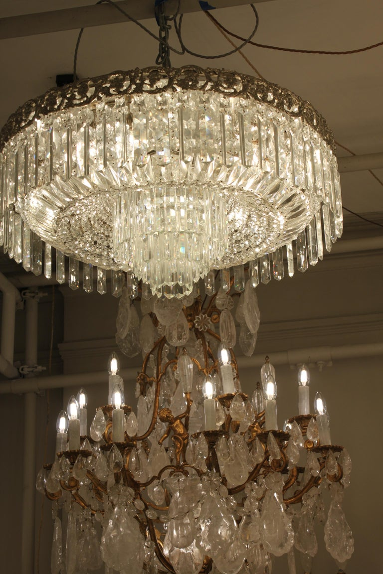 Beautiful Pair of Baccarat Crystal Art Nouveau Silver Chandeliers For Sale 6