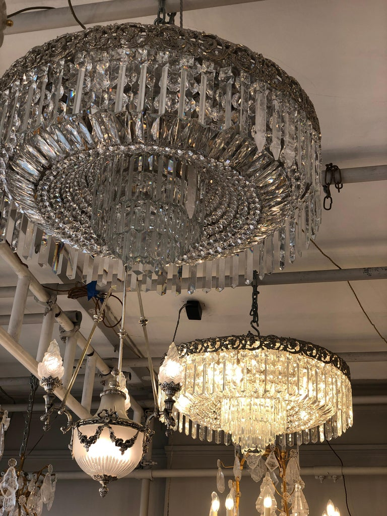 Brass Beautiful Pair of Baccarat Crystal Art Nouveau Silver Chandeliers For Sale
