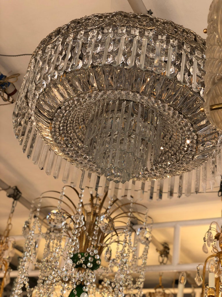 Beautiful Pair of Baccarat Crystal Art Nouveau Silver Chandeliers For Sale 1