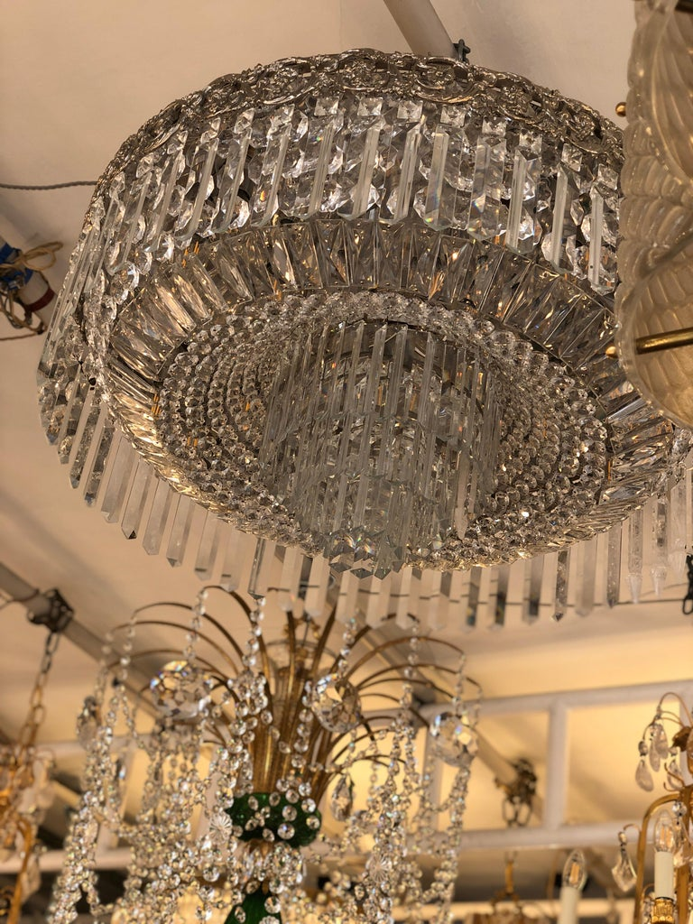 Beautiful Pair of Baccarat Crystal Art Nouveau Silver Chandeliers For Sale 3
