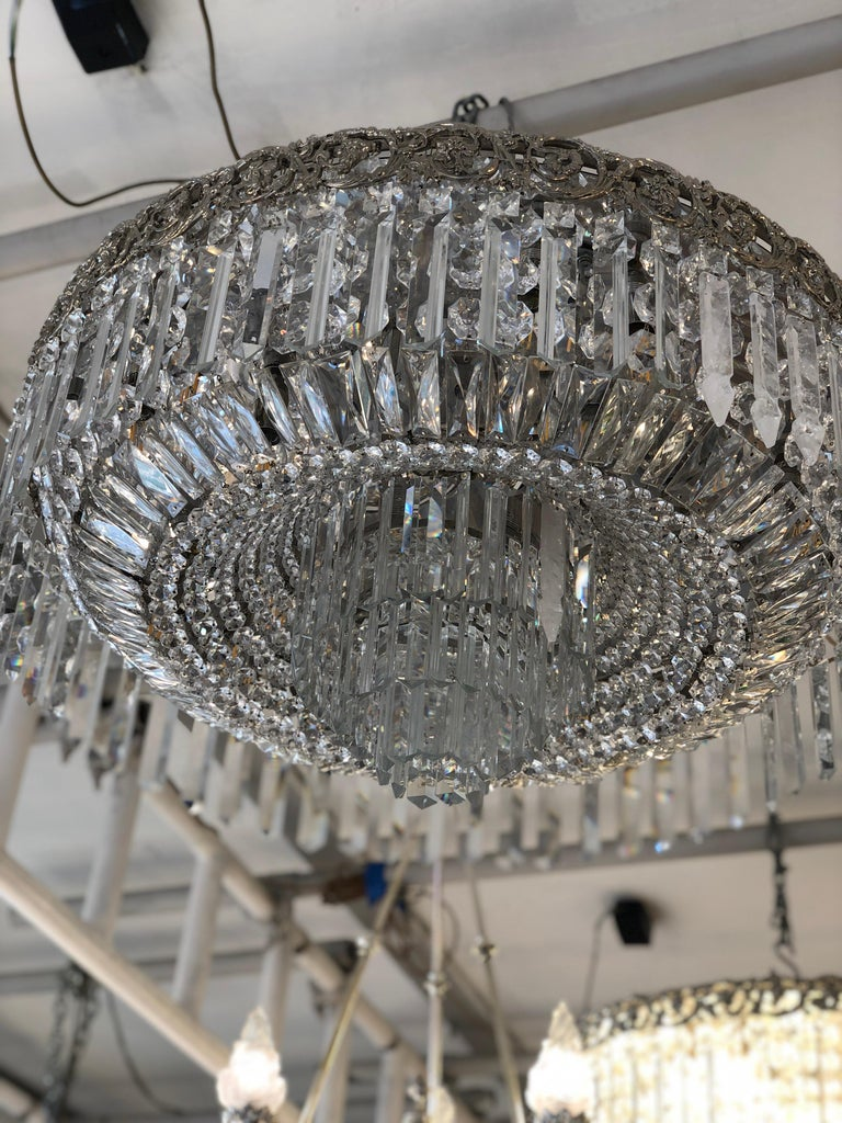 French Beautiful Pair of Baccarat Crystal Art Nouveau Silver Chandeliers For Sale