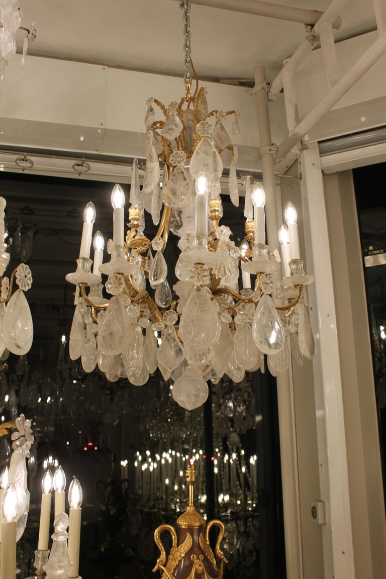French Beautiful Pair of Baccarat Rock Crystal Chandeliers For Sale