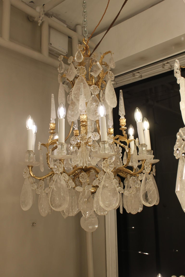 Brass Beautiful Pair of Baccarat Rock Crystal Chandeliers For Sale