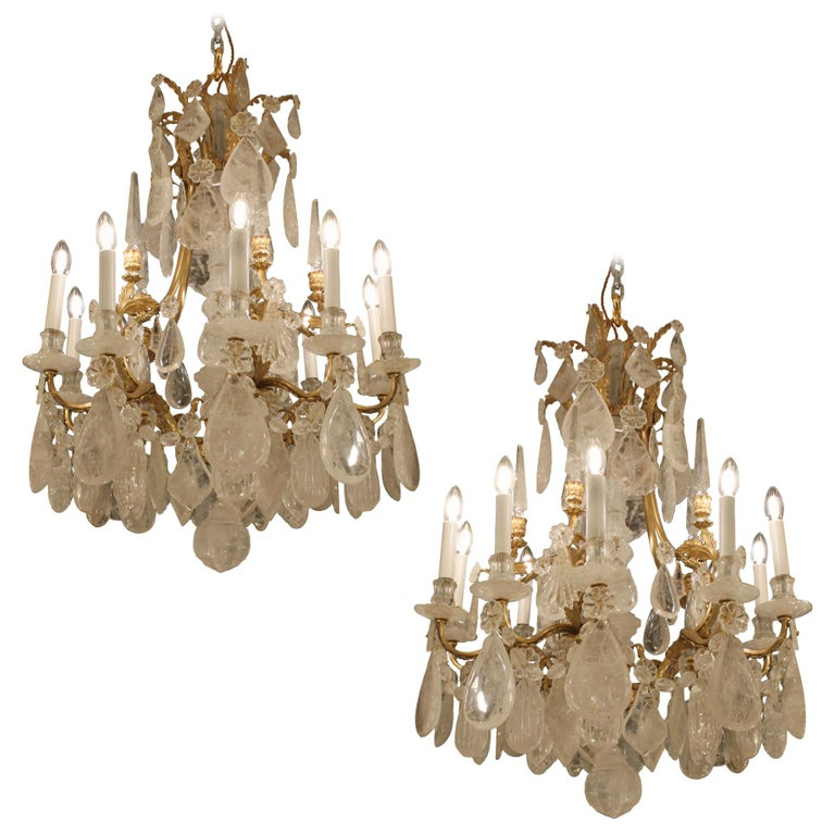 Beautiful Pair of Baccarat Rock Crystal Chandeliers For Sale