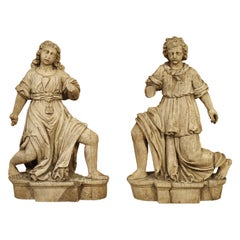 Beautiful Pair of Baroque Angels from France in Carved Oak