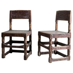 Beautiful Pair of Baroque Minimalist Swedish Chairs in Original Paint