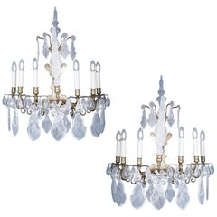 Beautiful Pair of Bronze 6-Arm Rock Crystal Wall Lights