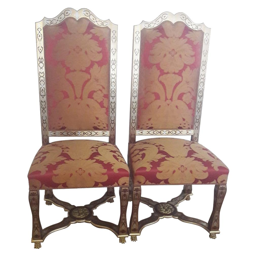 Beautiful Pair of Chairs, 18th Century Style, Signed, France