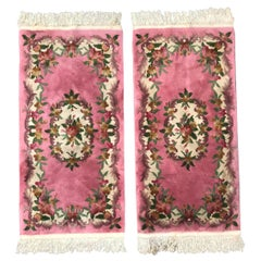 Beautiful Pair of Chinese Savonnerie Design Ittle Rugs