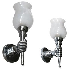 Beautiful Pair of Chromed Bronze French Sconces after André Arbus, 1950s