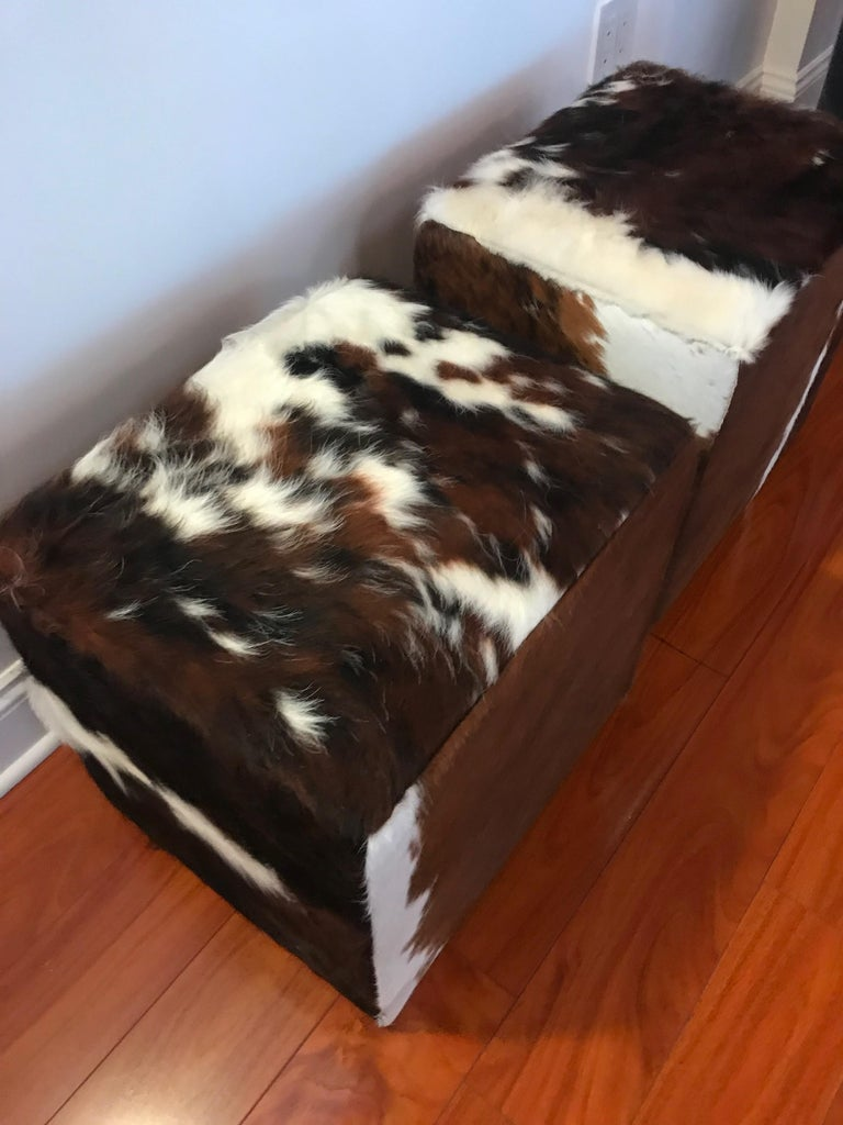 Modern Beautiful Pair of Cow Hide Benches or Ottomans For Sale