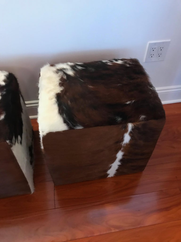 Beautiful Pair of Cow Hide Benches or Ottomans In Excellent Condition For Sale In North Bergen, NJ