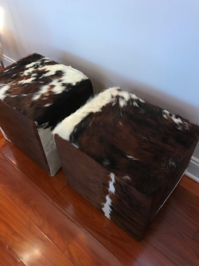 Contemporary Beautiful Pair of Cow Hide Benches or Ottomans For Sale