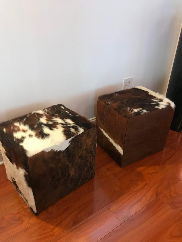 Beautiful Pair of Cow Hide Benches or Ottomans For Sale 1