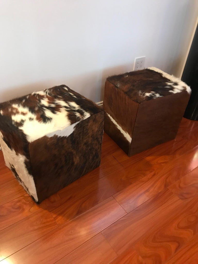 Beautiful Pair of Cow Hide Benches or Ottomans For Sale 2