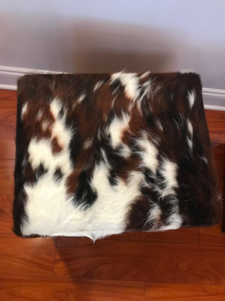 Beautiful Pair of Cow Hide Benches or Ottomans For Sale 3
