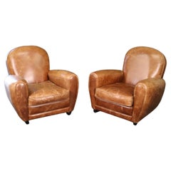 Beautiful Pair of Distressed Leather French Art Deco Style Club Chairs
