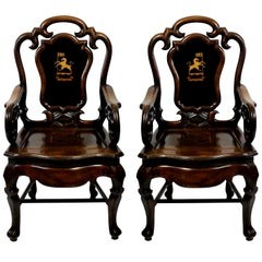 Beautiful Pair of Early 19th Century Anglo-Chinese Armchairs