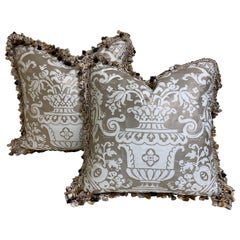 "Pair of Fortuny Cushions with Tassle Fringe in the ""Carnavalet"" Pattern"