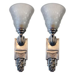 Beautiful Pair of French Art Deco Sconces Signed Muller Frères Luneville